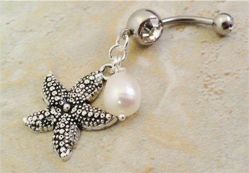 Starfish and Pearl Belly Button Ring Belly Jewelry