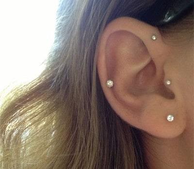 Gold Diamond Tragus Earrings Jewelry FlatHeadlake3on3