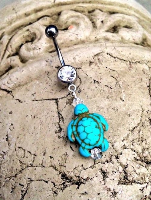 Turquoise Sea Turtle Belly Button Ring