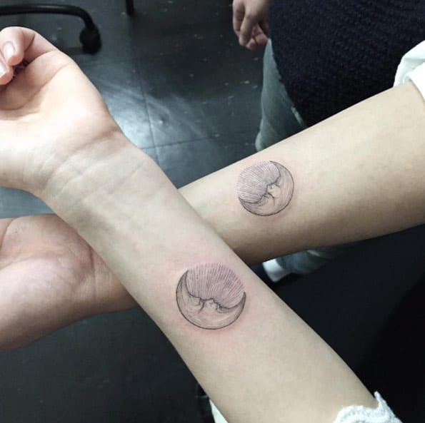 Matching Moon Tattoos by Ilwol