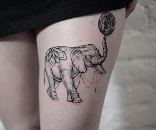 Dotwork Moon Tattoo by Anna Bravo