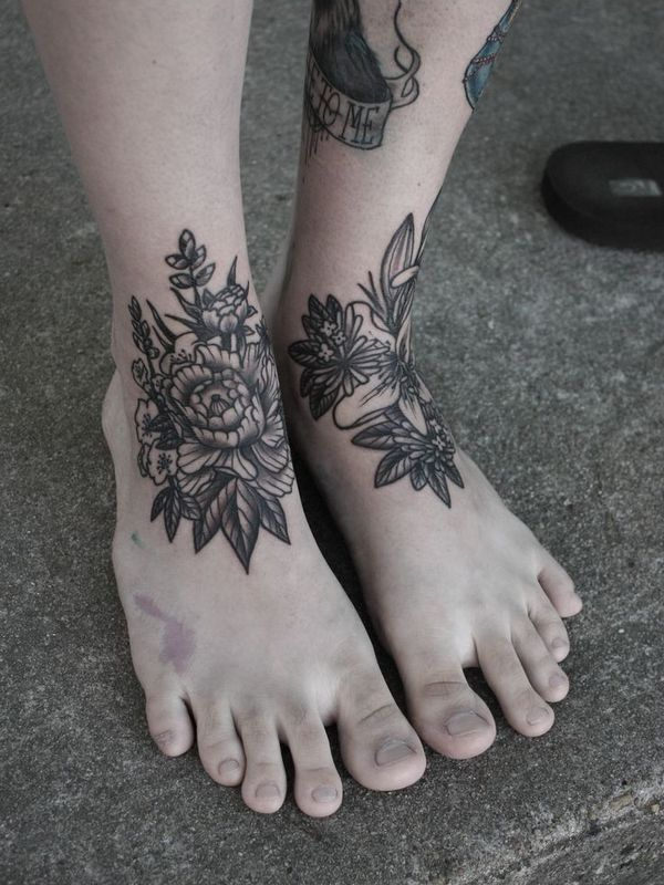 Amazing Holy Rosary Rose Foot Tattoo