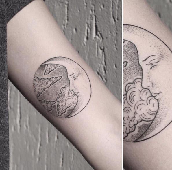 Simple Full Moon Tattoo