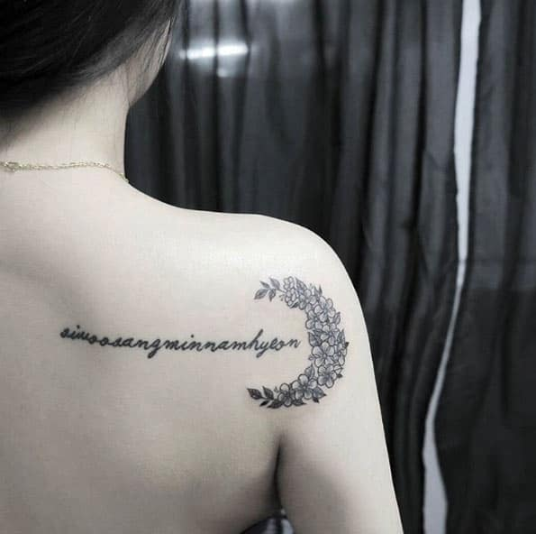 Floral Crescent Moon Tattoo by Moonda
