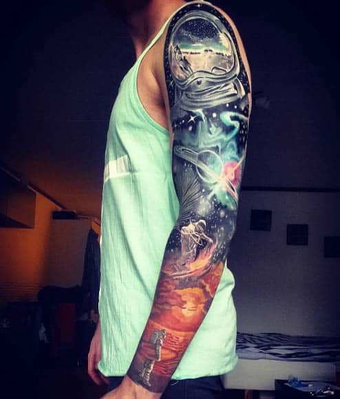 Space Sleeve Tattoo by Tobias Jonsson