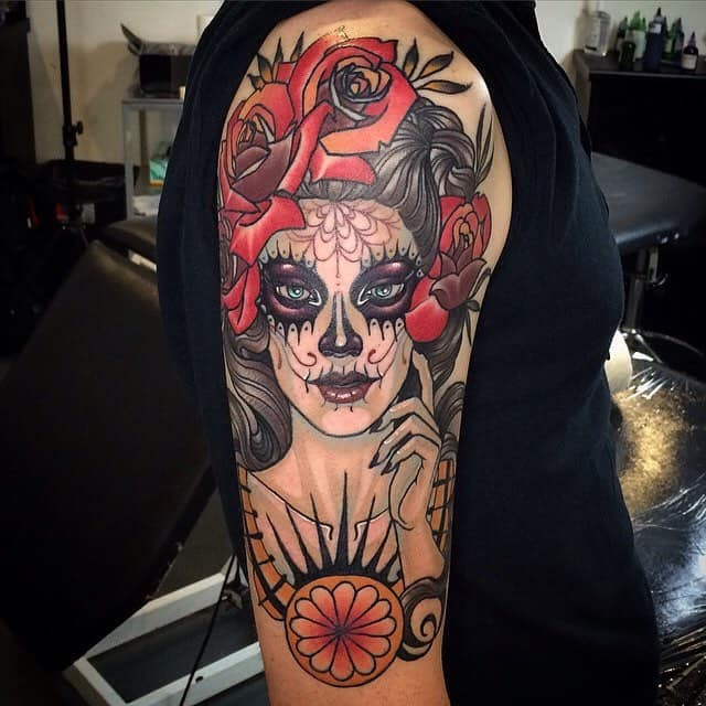 day of the dead tattoo on arm