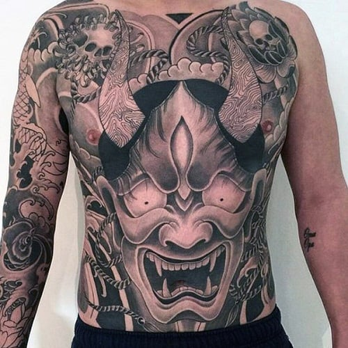 Demon Stomach Tattoo