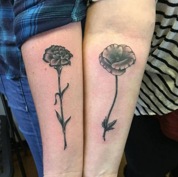 Blackwork Floral Sister Tattoos by Karl Otto