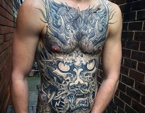 Japanese Dragon Stomach Tattoo