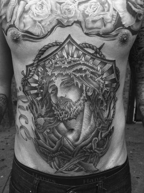 Jesus with Crown of Thorns Stomach Tattoo