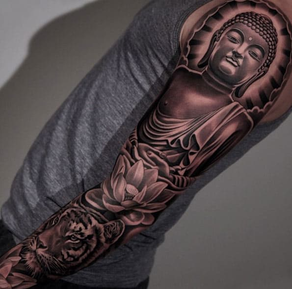 Blackwork Buddha Sleeve Tattoo by Jun Cha