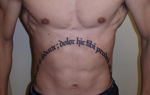Latin Words Men Tattoo on Stomach