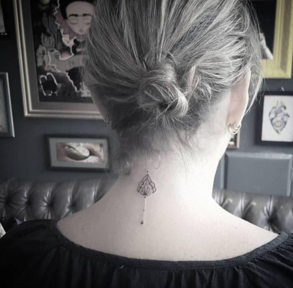 Ornamental Back Neck Tattoo by Jéssika Campos