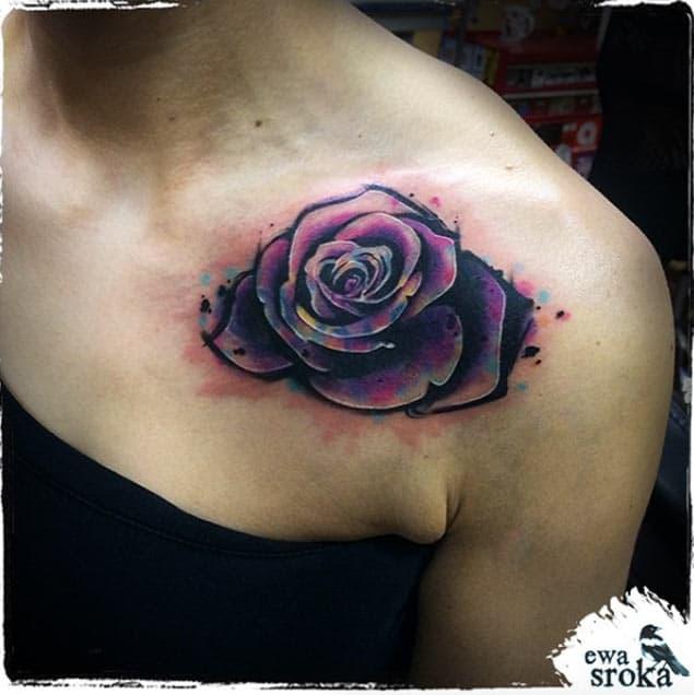 Colorful Rose Tattoo by Ewa Sroka