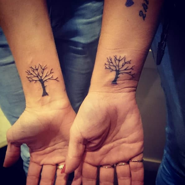 Matching Tree Sister Tattoos by Mathew Holland
