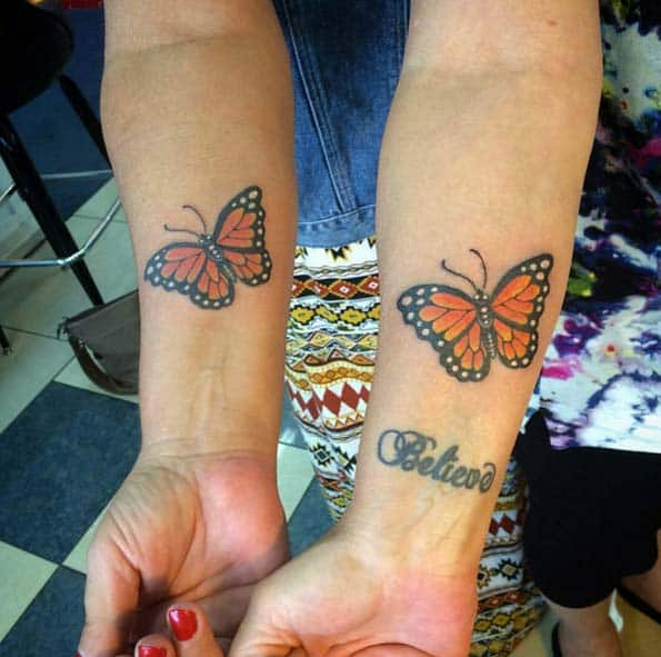 Butterfly Sister Tattoos by Elm Street