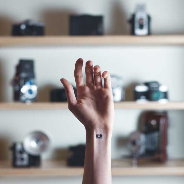 Miniature camera tattoo