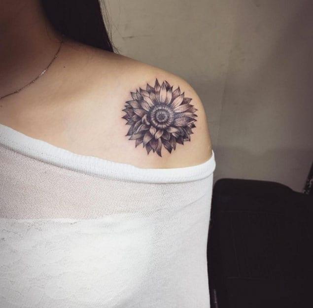 Sunflower Tattoo Design by Yunung