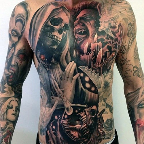 Vampire Tattoo on Stomach