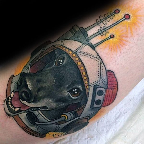 Abstract Dog Memorial Astronaut Tattoo Design Ideas
