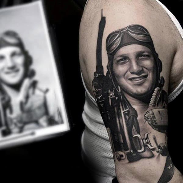 Amazing 3d Realistic Guys Memorial Military Veteran Tattoo On Upper Arm