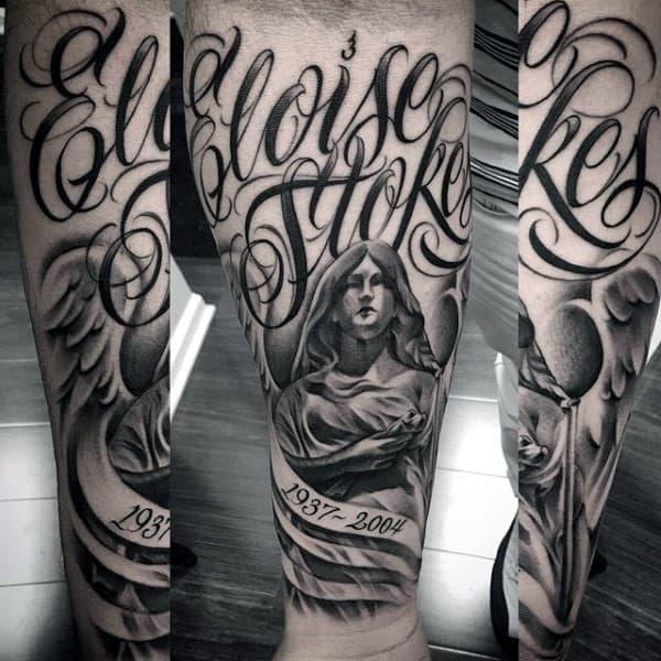 Angel Mens Memorial Shaded Forearm Tattoos