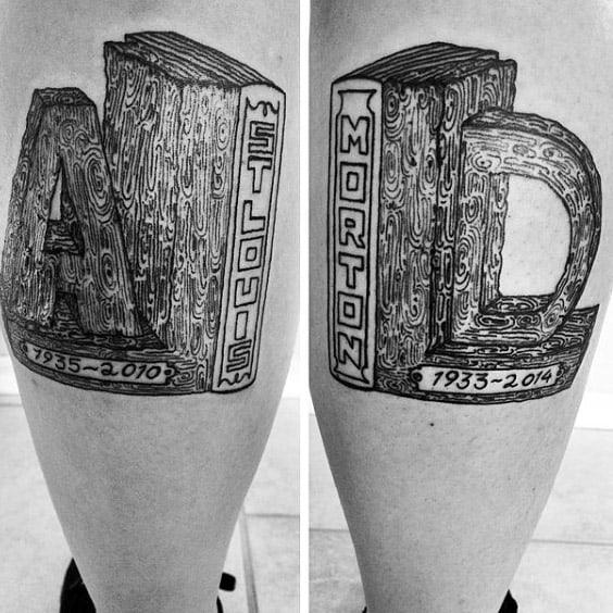 Book Ends Guys Cool Memorial Leg Calf Tattoos