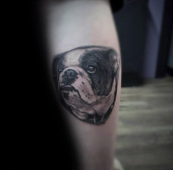 Bulldog Male Memorial Dog Tattoos