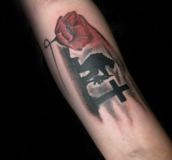 Fallen Solider By Cross With Watercolor Red Poppy Flower Male Memorial Tattoos