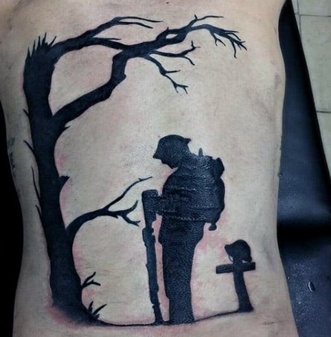 Fallen Solider Memorial Guys Rib Cage Side Tattoo
