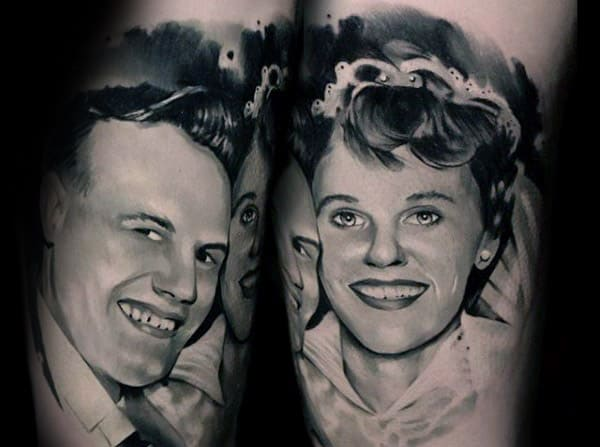 Family Portraits Memorial Mens Arm Tattoos With Realistic Design