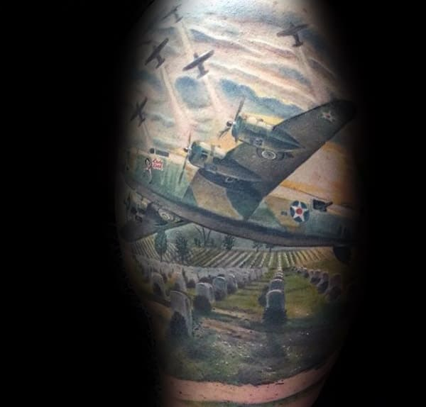 Fighter Plans Over Graveyard Memorial Military Mens Realistic Tattoo