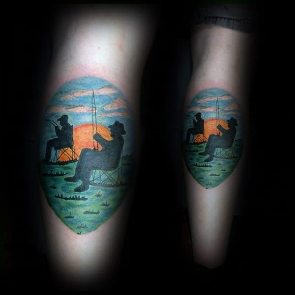 Fishing Memorial Mens Leg Calf Tattoos