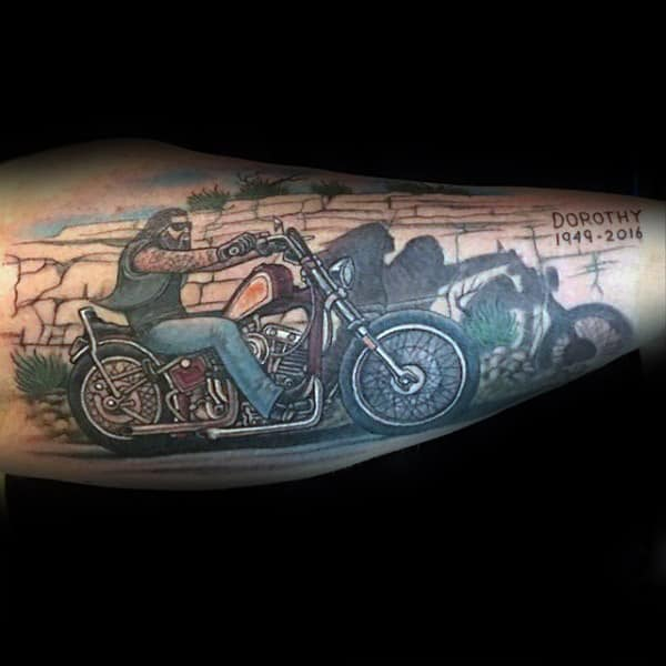 Gentleman With Shadow Of Bike Rider Memorial Forearm Tattoo