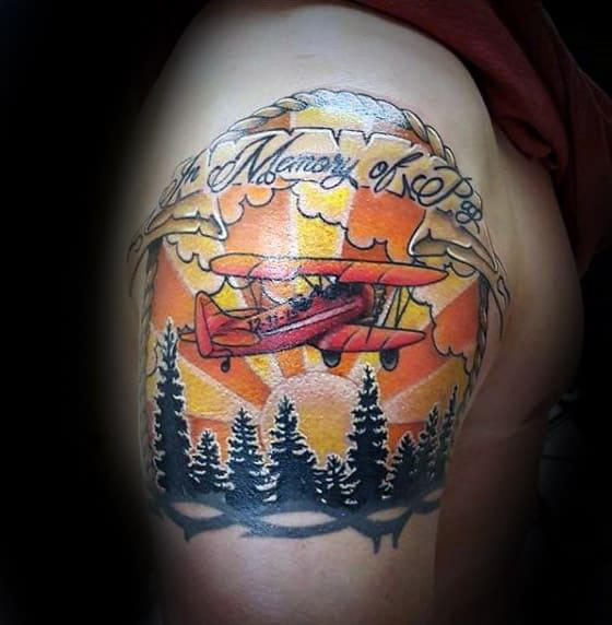 In Memory Of Mens Memorial Airplane Upper Arm Tattoos