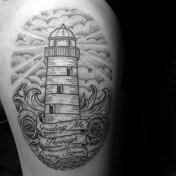 Lighthouse Mens Banner Memorial Dotwork Thigh Tattoos