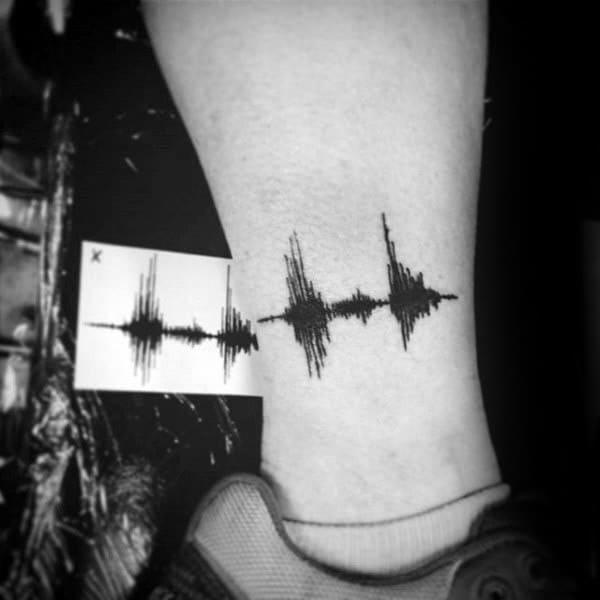 Lower Leg Memorial Soundwave Tattoos For Men