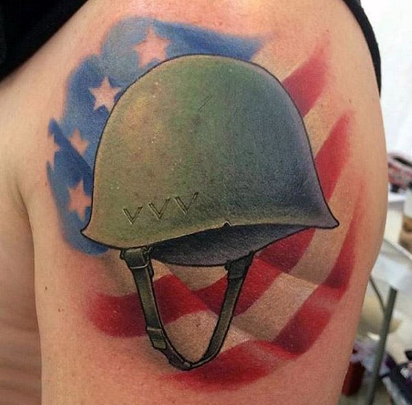 Male With Memorial American Flag And Military Helmet Tattoo