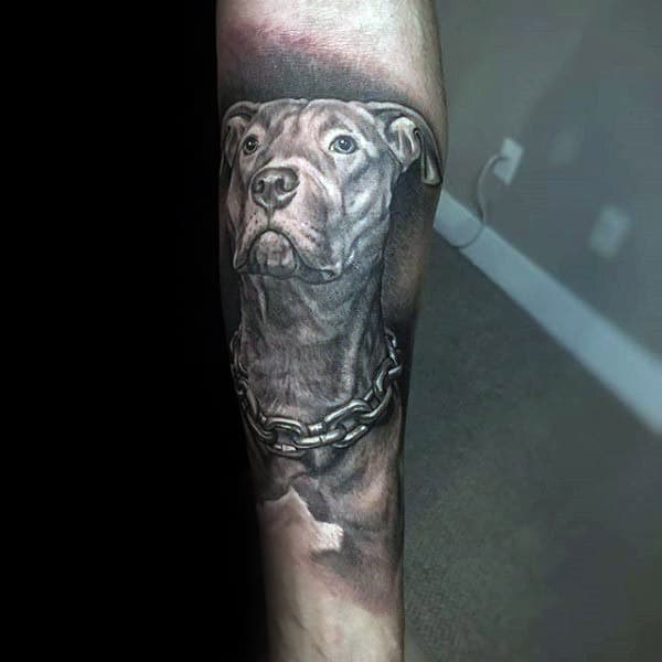 Man With Inner Arm Tattoo Of Dog Memorial Design
