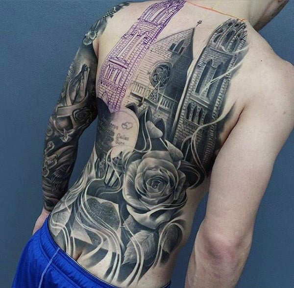 Mens Full Back Church With Tombstone Memorial Realistic Tattoos