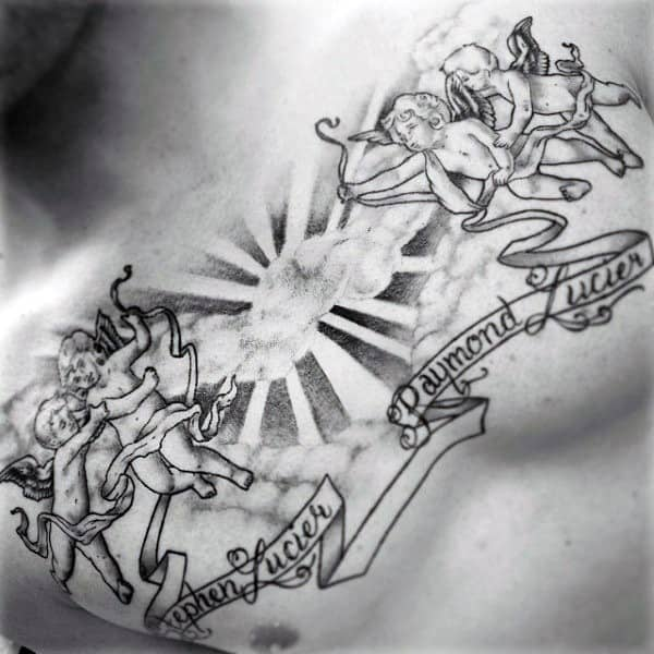 Mens Sun Rays With Angels Memorial Chest Tattoos