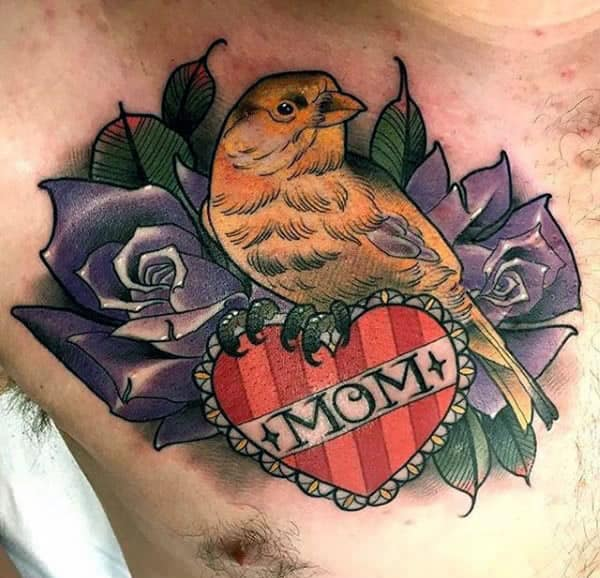 Mom Memorial Mens Chest Tattoo With Bird And Purple Rose Flowers