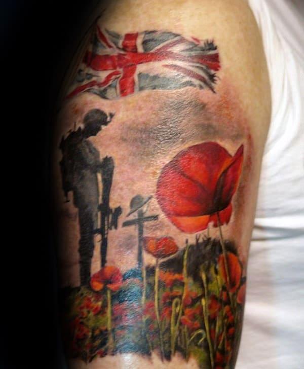 Poppy Flower Soilder Memorial Upper Arm Tattoos For Males