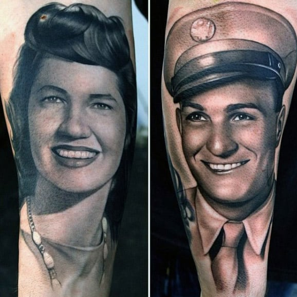 Portrait Mother And Father Mens Memorial Realistic Arm Tattoos