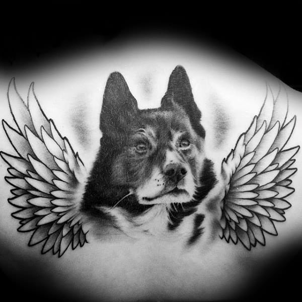 Realistic Dog With Angel Wings Mens Memorial Back Tattoo