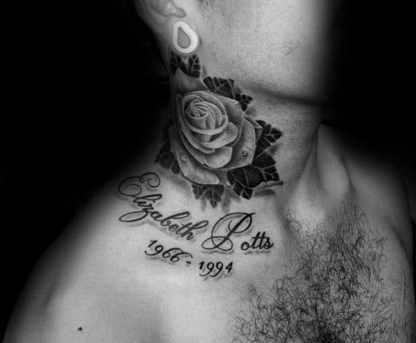 Rose Flower Memorial Guys Neck Tattoos