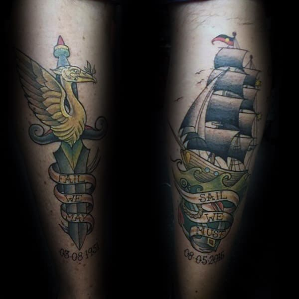 Sailing Ship With Dagger Memorial Back Of Leg Mens Tattoos