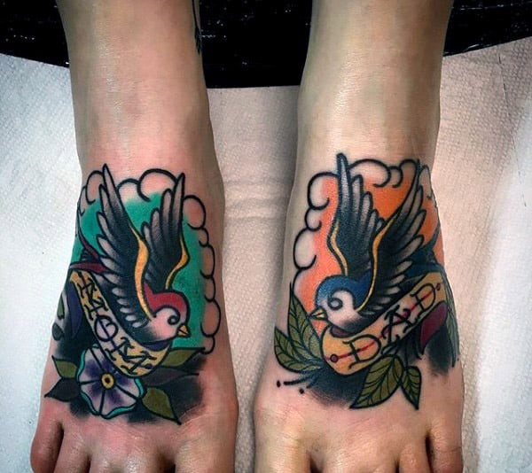Sailor Jerry Sparrows Mens Mom And Dad Memorial Tattoos On Feet