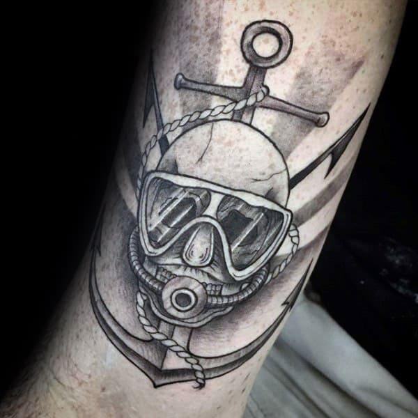 Scuba Diver Mens Memorial Anchor Arm Tattoos