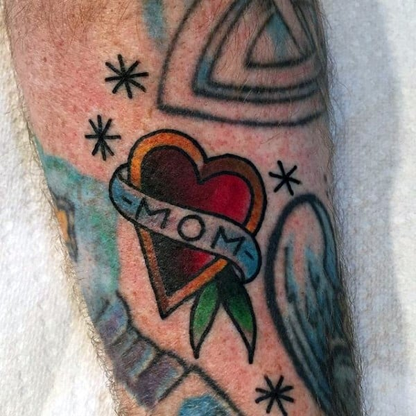 Small Old School Memorial Mom Heart Tattoos For Guys